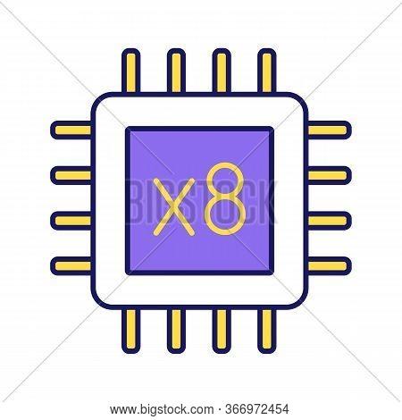 Octa Core Processor Color Icon. Eight Core Microprocessor. Microchip, Chipset. Cpu. Central Processi