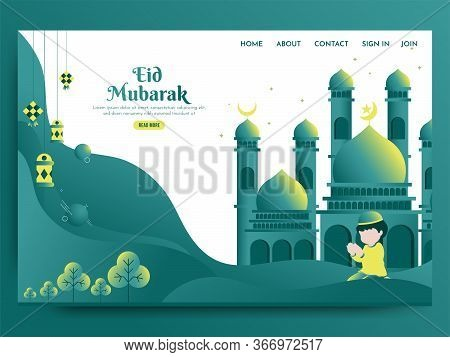 Illustration Of Beautiful Mosque, A Child Is Pray To Allah To Celebrating Holy Month Of Islam Eid Mu