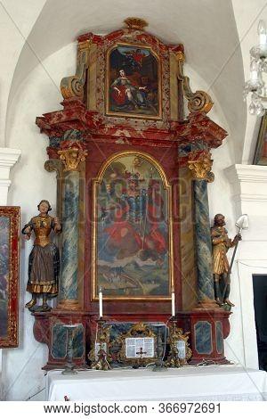 GORICA LEPOGLAVSKA, CROATIA - OCTOBER 08, 2016: The altar of Saint Florian in the Chapel of Saint John the Baptist in Gorica Lepoglavska, Croatia