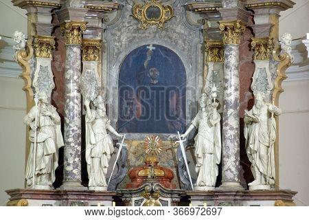 ZAGREB, CROATIA - NOVEMBER 12, 2012: Main altar in the Franciscan church of St. Francis Xavier in Zagreb, Croatia