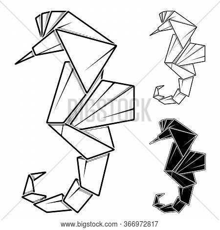 Vector Monochrome Image Of Paper Sea Horse (hippocampus) Origami (contour Drawing By Line).