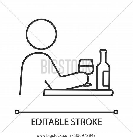 Bad Habits Linear Icon. Alcoholism. Thin Line Illustration. Drinking Habit. Binge Drinking. Depressi