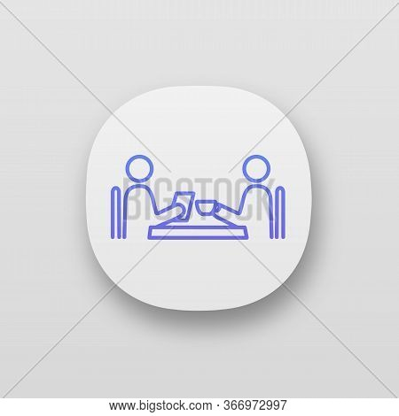Business Lunch App Icon. Coffee Interview. Colleagues, Friends, Partners, Customers Meeting. Coffee