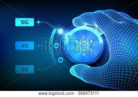5g Network Wireless Systems And Internet Of Things. Wireframe Hand Turning The Mobile Network Select