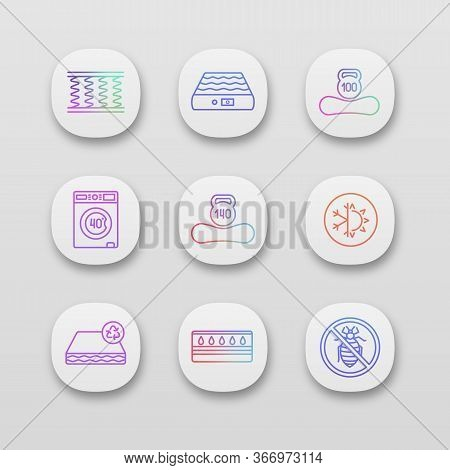 Mattress App Icons Set. Ui Ux User Interface. Spring, Air, Machine Washable, Dual Season, Recyclable