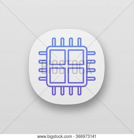 Quad Core Processor App Icon. Four Core Microprocessor. Microchip, Chipset. Cpu. Central Processing
