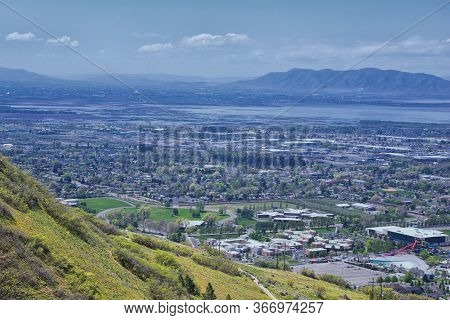Provo Landscape And Utah Lake Views From The Bonneville Shoreline Trail (bst) And The Y Trail, Which