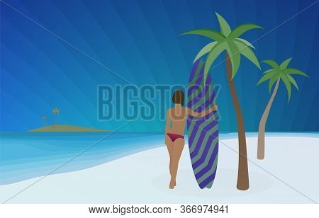 Surfing Sport Vector Concept Illustration. Young Sexy Topless Sporty Surf Girl Hugs A Surfboard Whil