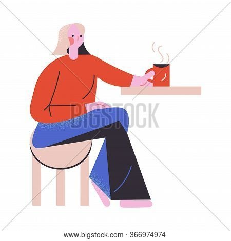 Woman Sitting In Coffeeshop And Drinking Coffee Vector Illustration