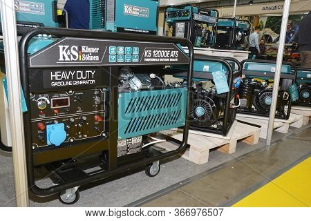 Kyiv, Ukraine - May, 12, 2020: Large Shop Display Of Home Standby Diesel, Backup Generators To Deliv