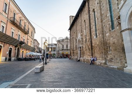 Atri, Teramo, Italy, August 2019: Old Town Of Atri, Cathedral, Basilica Of Santa Maria Assunta, Nati
