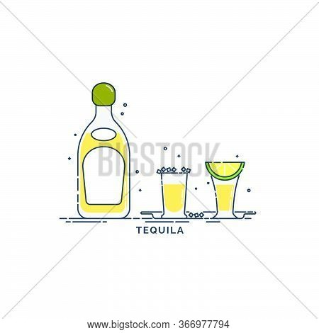 Set Of Tequila Bottles With A Glass And Traditional Snack Salt And Lime. Citrus Slice Appetizer And