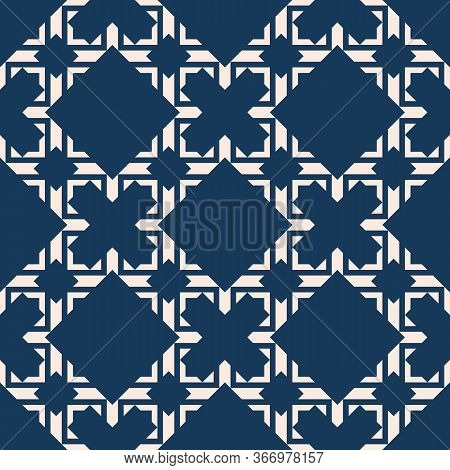 Vector Abstract Geometric Seamless Pattern In Asian Style. Elegant Ornament In Dark Blue Color. Luxu