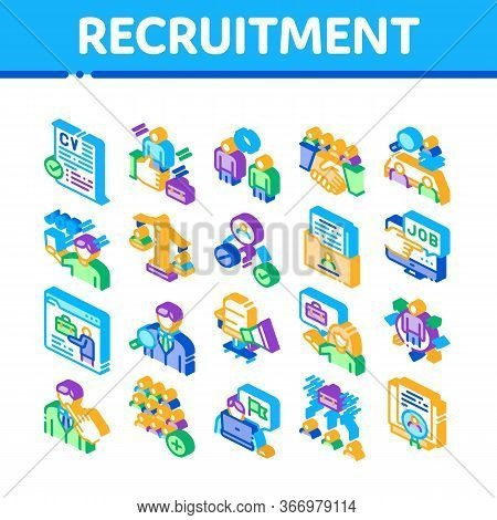 Recruitment And Research Employee Icons Set Vector. Curriculum Vitae Cv And Professional Career, Int