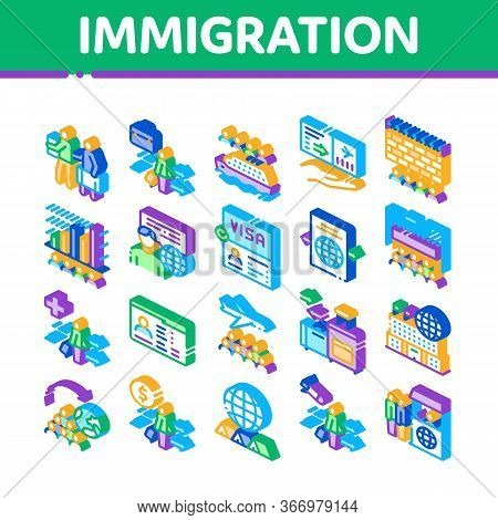 Immigration Refugee Collection Icons Set Vector. Immigration Person With Baggage, Passport And Visa,