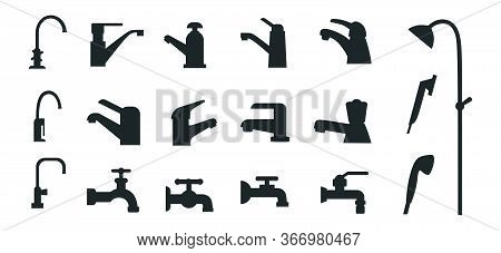 Set Of Different Black Faucets Icons For Bath Vector Illustration. Variety Of Water Cranes For Bathr