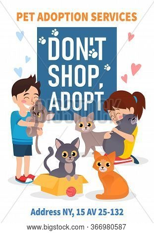 Pet Adoption Poster With Colourful Animals Vector Illustration. Pet Adoption Services Flat Style. Gi