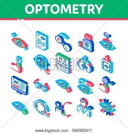 Optometry Medical Aid Collection Icons Set Vector. Optometry Doctor Equipment And Pills Bottle, Eye