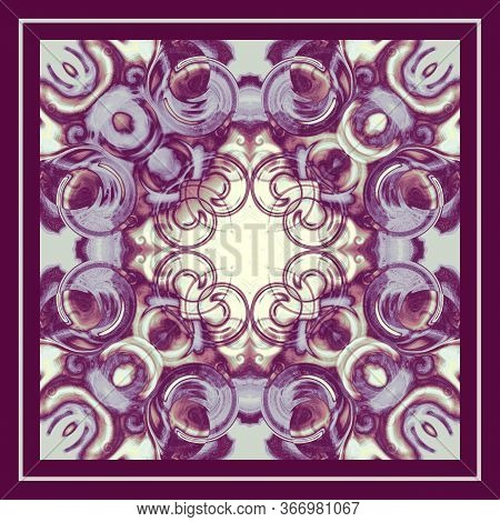 Kaleidoscope Colored Background With Frame. Bordo, Violet, Beige Symmetric Ornament. Fantasy Pattern