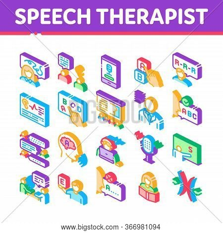 Speech Therapist Help Collection Icons Set Vector. Speech Therapist Therapy, Alphabet And Blackboard
