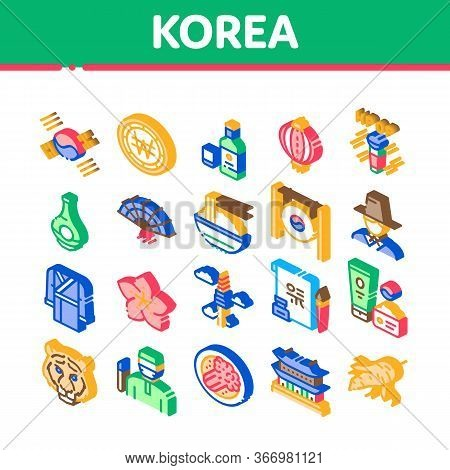 Korea Traditional Collection Icons Set Vector. Korea Flag And Wearing, Food And Drink, Palace Buildi