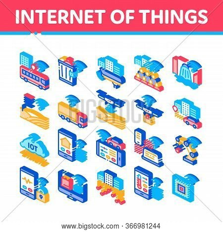 Internet Of Things Iot Collection Icons Set Vector. Wifi Signal In Bus And Truck, Cctv Camera And Dr