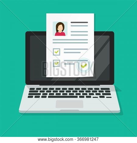 Personal Interview Online With Skills Data Investigation Document Vector On Computer Laptop Or Inter
