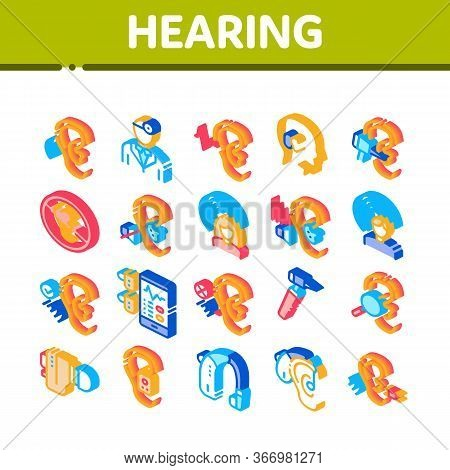 Hearing Human Sense Collection Icons Set Vector. Hearing Aid Device And Earphone. Doctor And Medical
