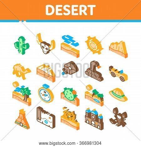 Desert Sandy Landscape Collection Icons Set Vector. Desert Sand Dune, Snake And Camel, Car And Scorp