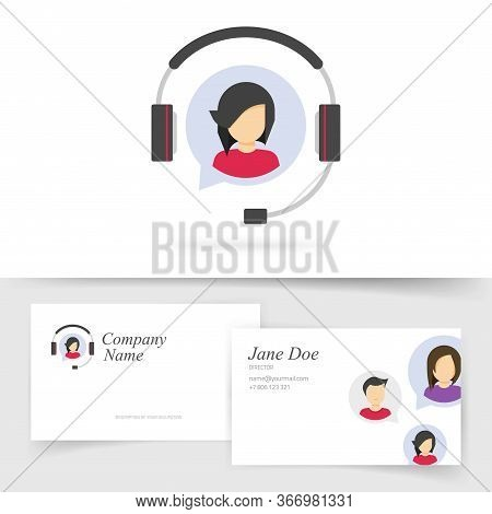 Customer Service Support Logo With Business Card Design Or Client Assistance Help Desk Agent Call Ce