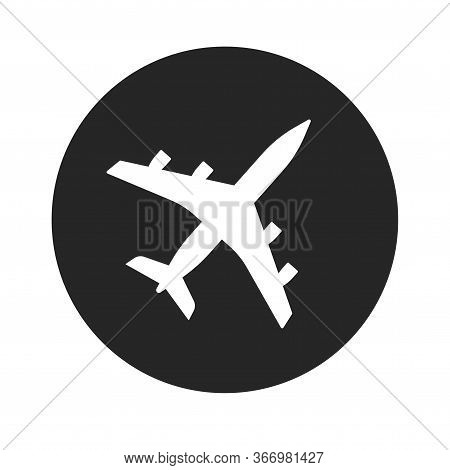 Plane Icon Vector Shape Or Airplane Jet Silhouette Symbol Round Black And White Monochrome Flat Airp