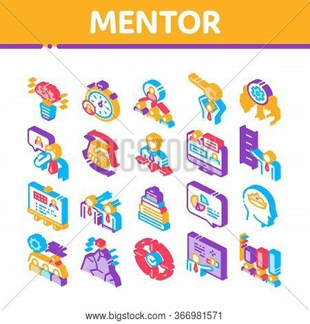 Mentor Relationship Collection Icons Set Vector. Human Holding Key And Gear, Stopwatch And Mountain