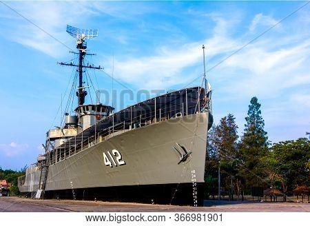 Rayong Provincethailand  Jan 12  2019  Luang Prasae Battleship  At Paknam Prasae In Rayong Province