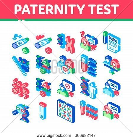 Paternity Test Dna Collection Icons Set Vector. Man And Woman Silhouette, Chemistry Laboratory Test