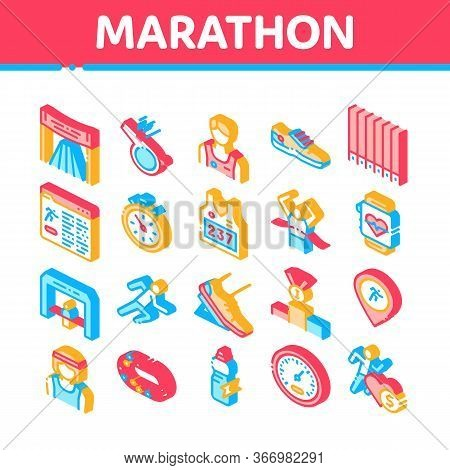 Marathon Collection Elements Icons Set Vector. Human Athlete Silhouette Running And Uniform, Sport S