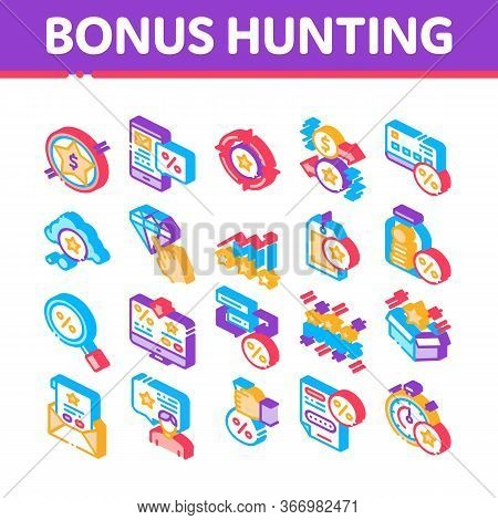 Bonus Hunting Collection Elements Icons Set Vector. Magnifier And Bag With Percent Mark, Star, Diamo