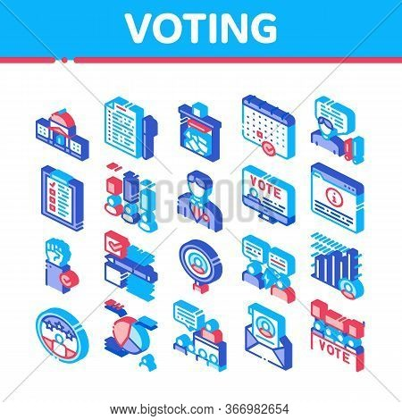 Voting And Election Collection Icons Set Vector. Congress Building And Monitor, Calendar And Human S