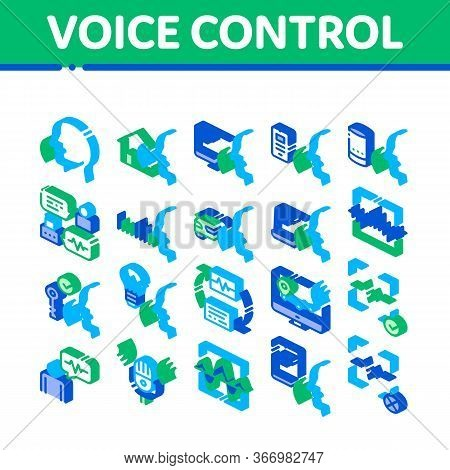Voice Control Collection Elements Icons Set Vector. Voice Controlling Smart House And Car, Laptop An