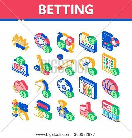 Betting And Gambling Collection Icons Set Vector. Basketball And Baseball, Hockey And Boxing, Horse