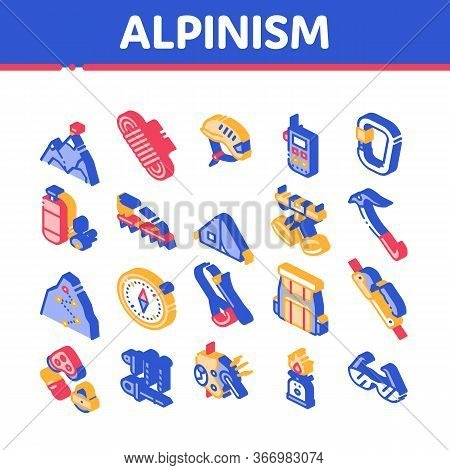Alpinism Collection Elements Vector Icons Set. Compass And Glasses, Mountain Direction And Burner Mo