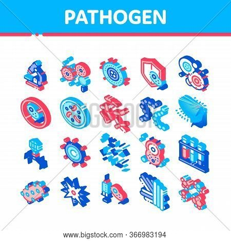 Pathogen Elements Vector Sign Icons Set. Pathogen Bacteria Microorganism, Microbes And Germs Pictogr