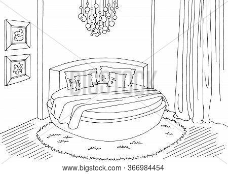 Bedroom Round Bed Graphic Black White Home Interior Sketch Illustration Vector