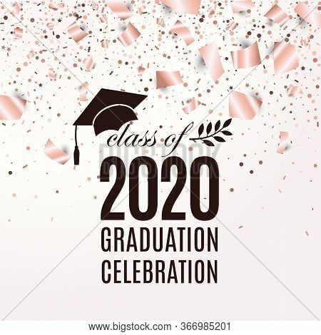 Class Of 2020 Graduation Greeting Card With Hat, Laurel On Blush Rose Backdrop With Flying Foil Pape