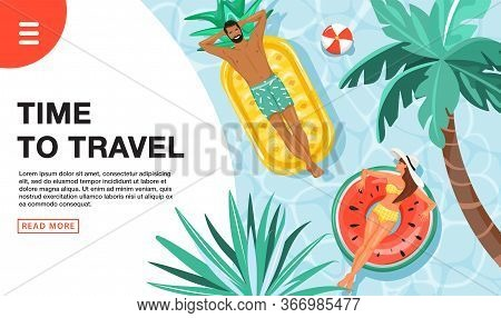 Travel Vacation Concept. Landing Page Template. Happy Couple Floating And Sunbathing On Swim Ring In