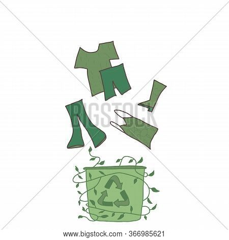 Recycle Symbol. Recycling Of Clothes Sign Isolated On White Background. Zero Waste Concept. Vector E