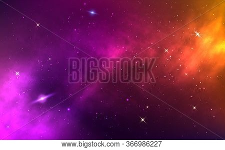 Space Background. Yellow Colorful Galaxy. Realistic Purple Nebula With Stardust And Planet. Shining