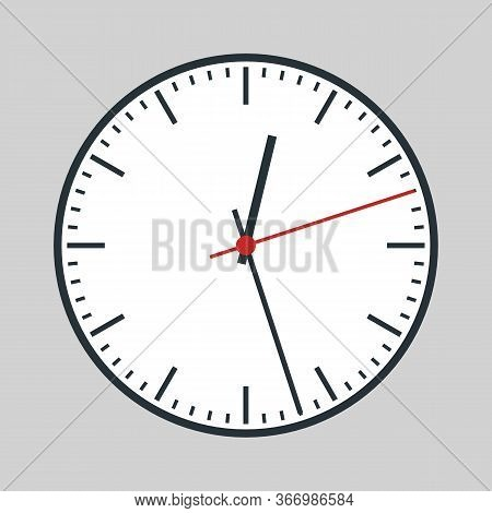 Round Analogue Watch With Red Second Hand And White Dial. Vector Eps10.