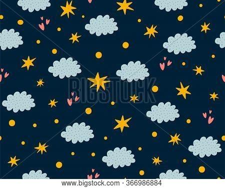 Nursery Stars Pattern. Night Sky Background. Cute Childish Stars, Clouds Seamless Background. Baby P