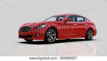 Red Car Isolated on Gray, Close-up, Shallow Depth of Field, Selective Focus, Automobile in Studio, Automobile Industry, 3d Car,  Auto Transport, Automotive Background, City Vehicle