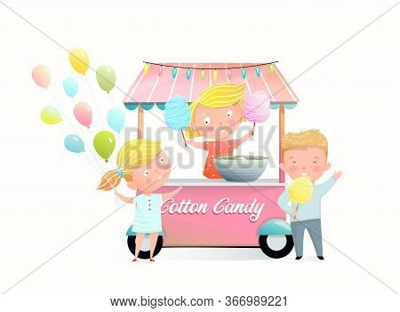 Kids Buying Cotton Candy At The Fair Stall. Little Girl Selling Candy Floss In The Market, Children